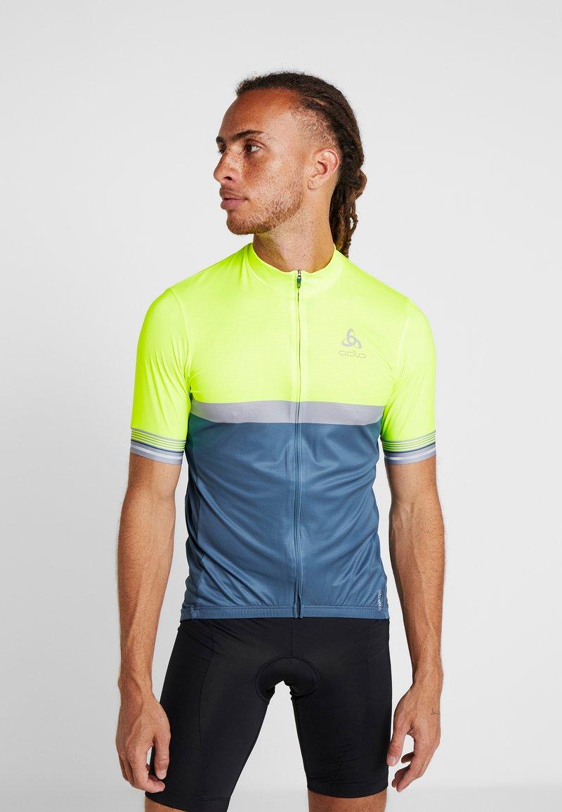 ODLO - STAND UP COLLAR FULL ZIP - T-Shirt print - safety yellow neon/bering sea