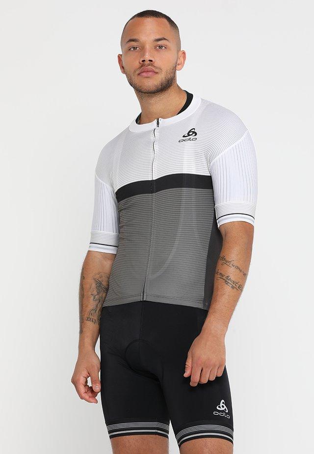 STAND UP COLLAR FULL ZIP ZEROWEIGHT - T-Shirt print - white/odlo graphite grey