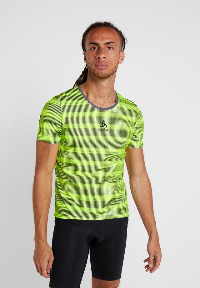 CREW NECK ZEROWEIGHT - T-shirt print - safety yellow/odlo graphite grey