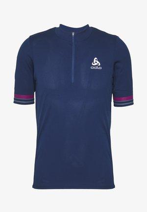 STAND UP COLLAR ZIP ELEMENT - T-Shirt print - estate blue