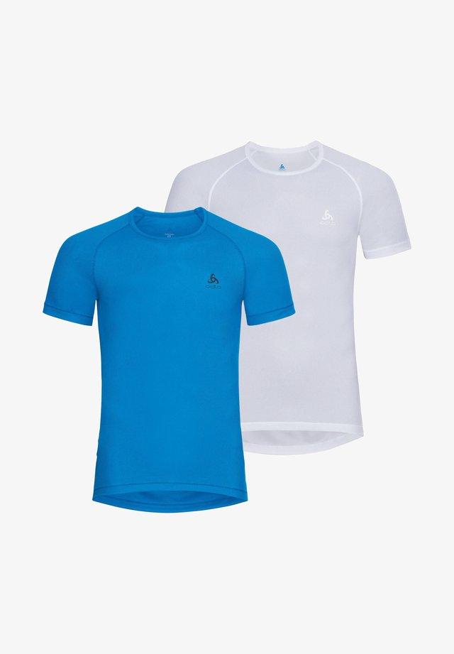 2 PACK - Basic T-shirt - weiss / blau (902)