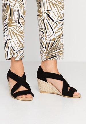 MAIDEN WIDE FIT - Sandály na klínu - black
