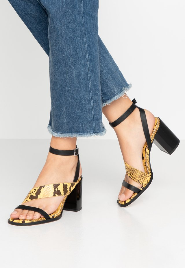 MONTY - Sandals - black/yellow