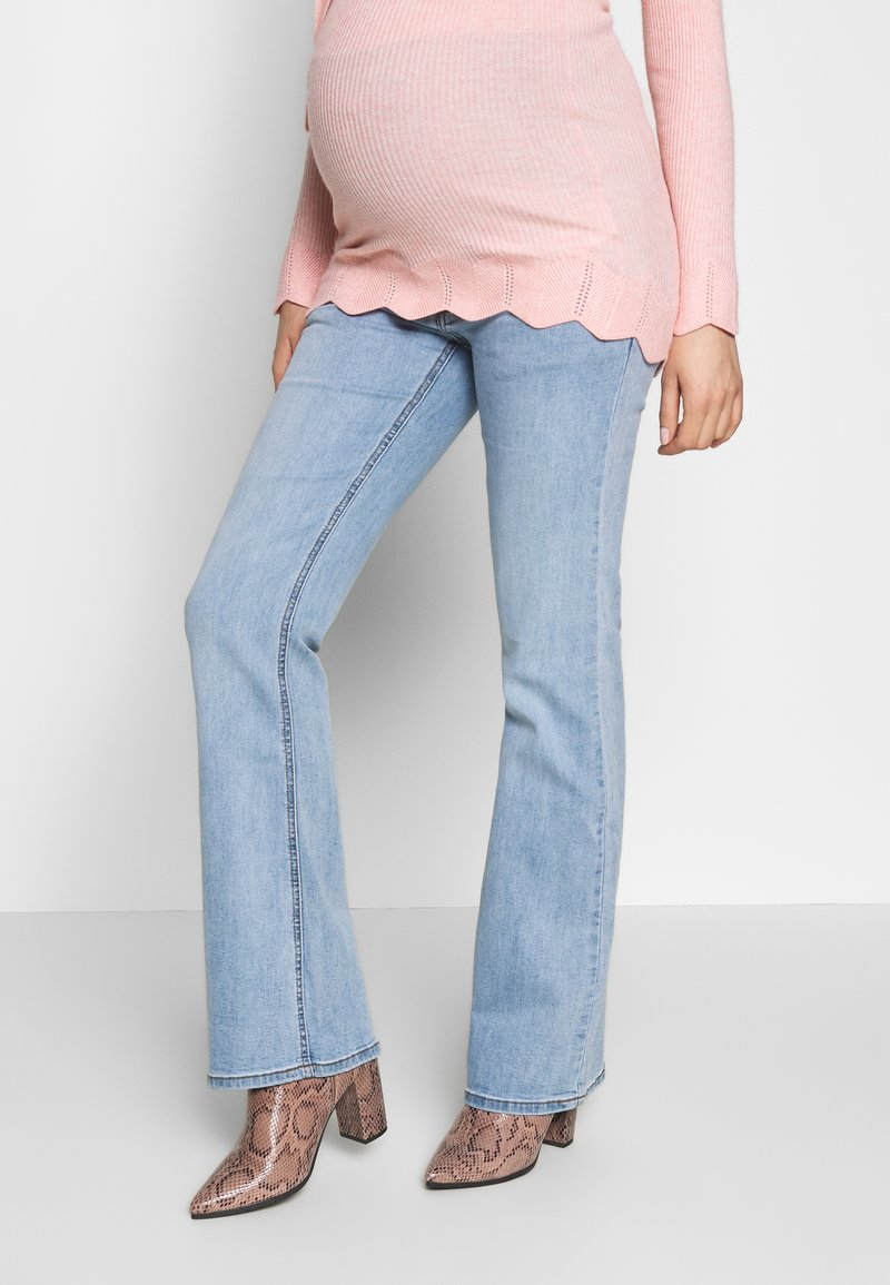 ohma! - FLARED WITH HIGH BELLY - Bootcut jeans - light indigo