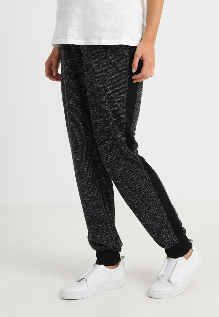 ohma! - CHEVIOT TROUSER WITH CONTRAST PIECES AND CUFFS - Tracksuit bottoms - dark grey