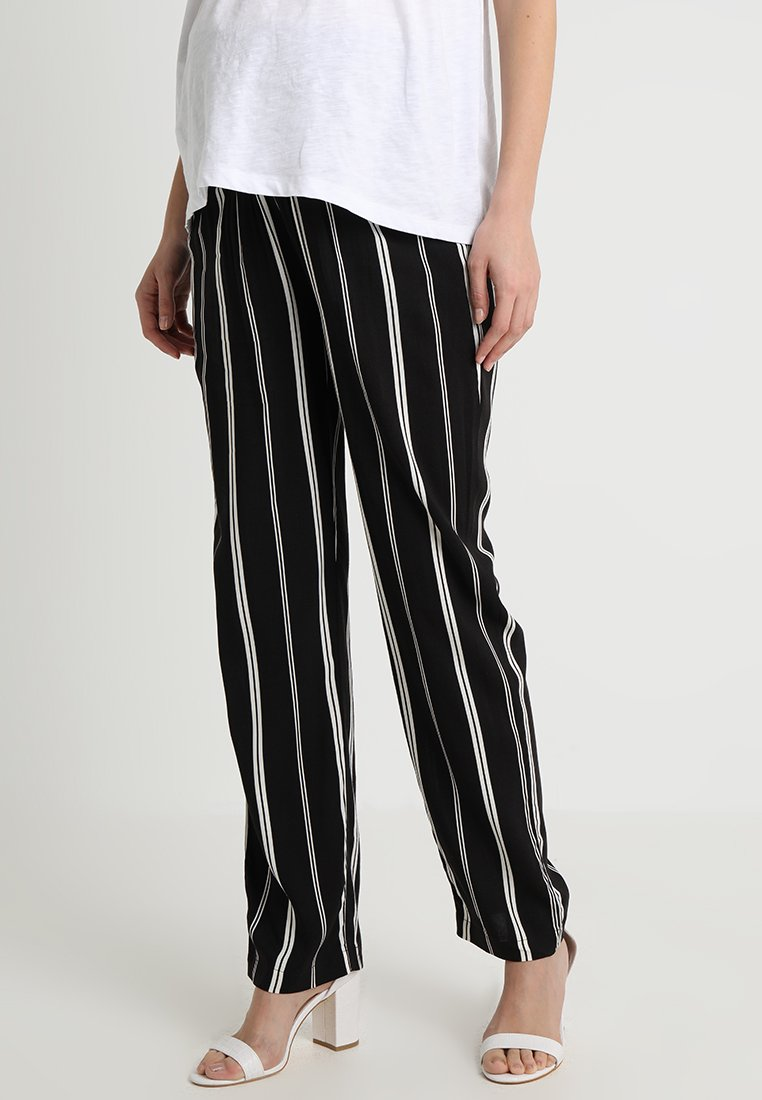 ohma! - PRINTED TROUSER WITH SMOCK ON BELLY - Trousers - black/white