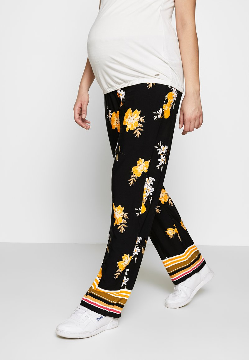 ohma! - MATERNITY PRINTED WIDE TROUSER - Trousers - black/ochre