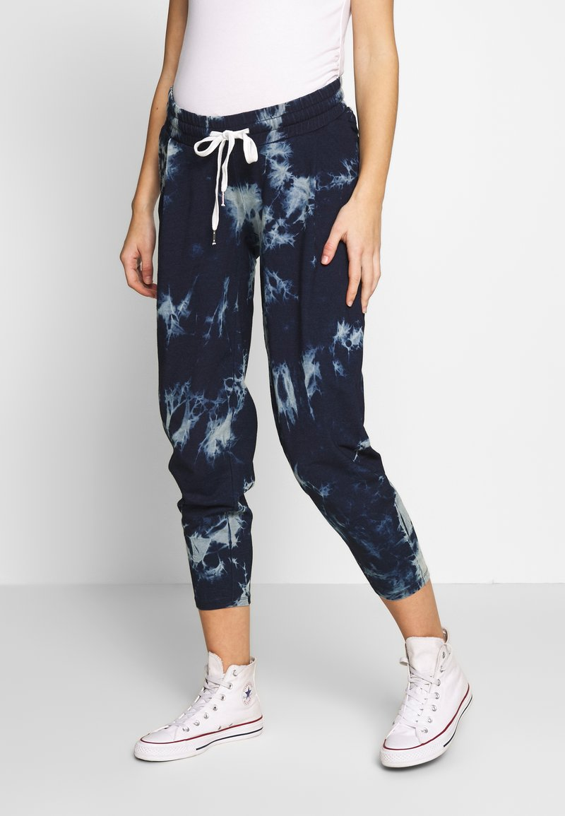 ohma! - TIE&DYE SAROUEL TROUSER WITH LOW BELLY - Tracksuit bottoms - navy