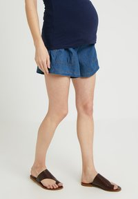 ohma! - WIDE SHORT TROUSER WITH BELT - Shorts - dark indigo - 0