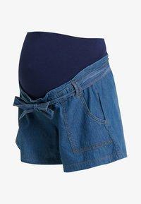 ohma! - WIDE SHORT TROUSER WITH BELT - Shorts - dark indigo - 3