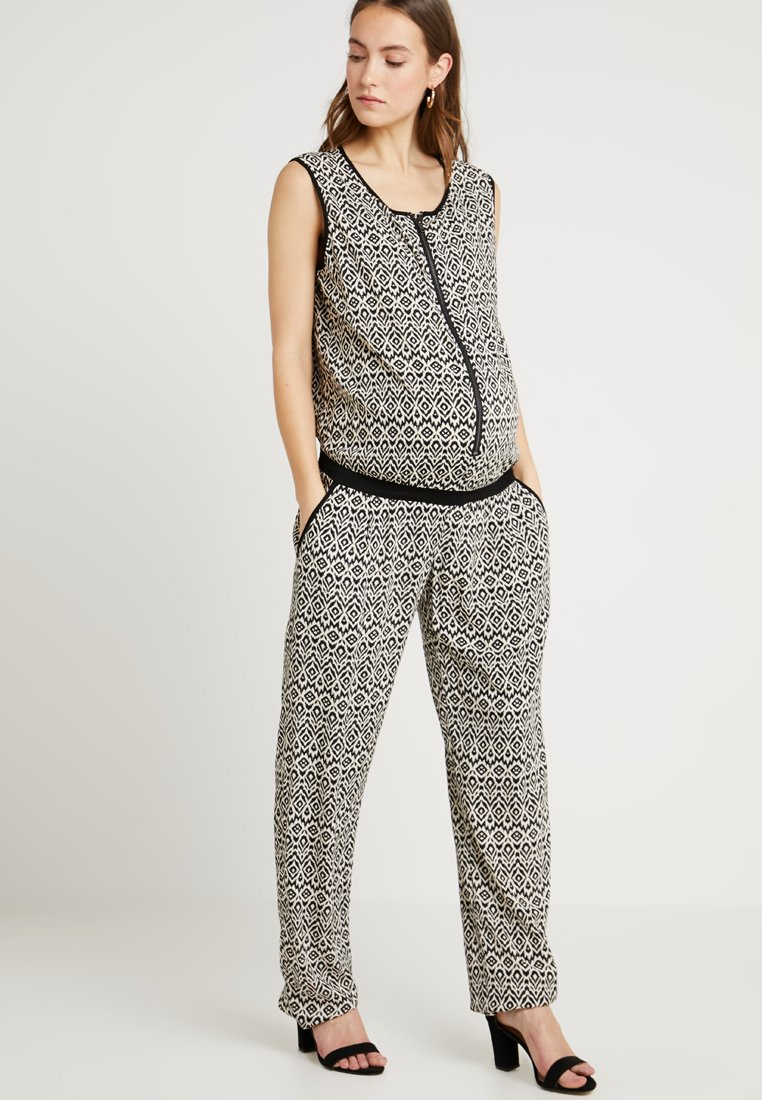 ohma! - PRINTED LONG NURSING OVERALL - Jumpsuit - black/white