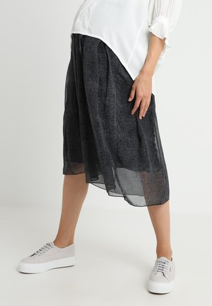 GEORGETTE MIDI SKIRT PRINTED IN FAKE CHEVIOT - Maxi skirt - grey