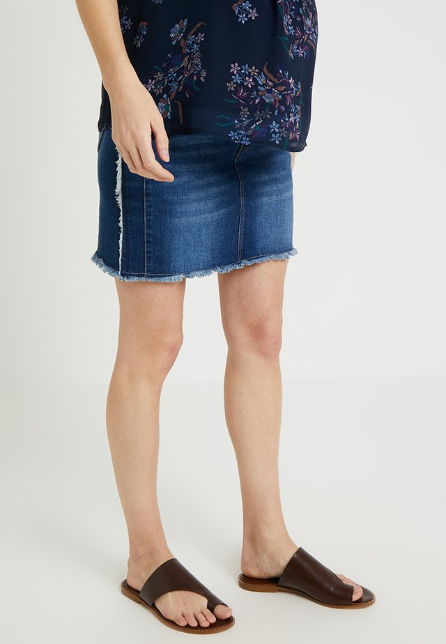 SHORT SKIRT WITH FRINGES AT SIDES - Gonna di jeans - indigo