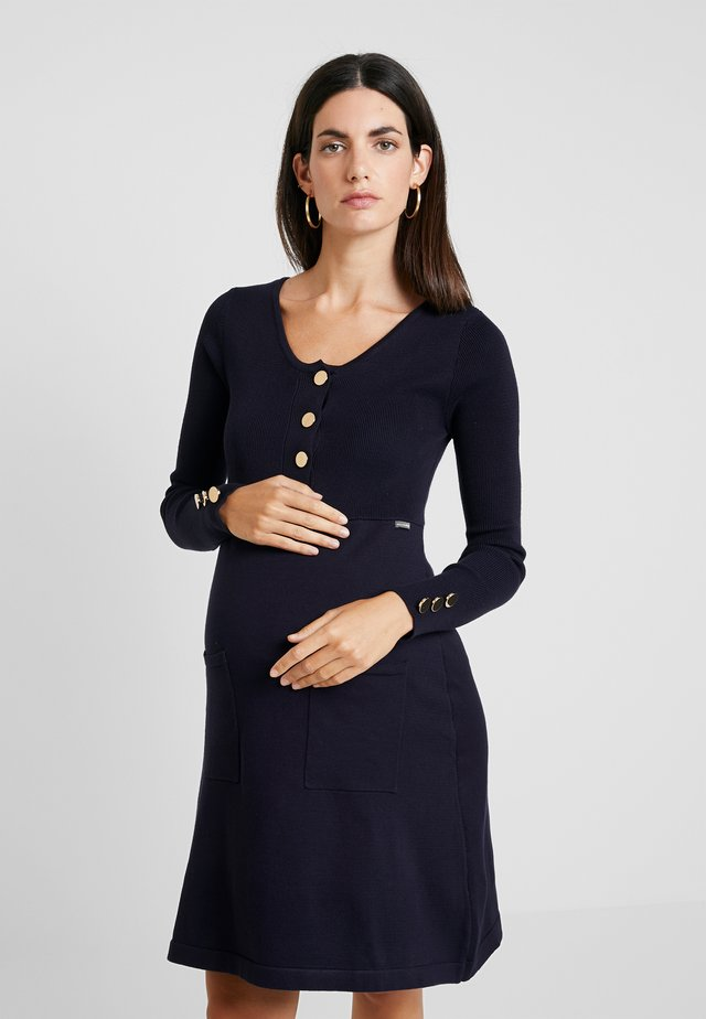 NURSING FLAT DRESS WITH BUTTONS - Strikkjoler - navy