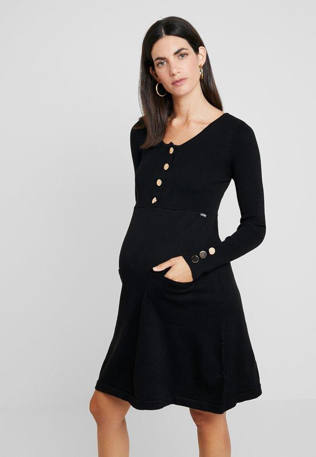 NURSING FLAT DRESS WITH BUTTONS - Strickkleid - black