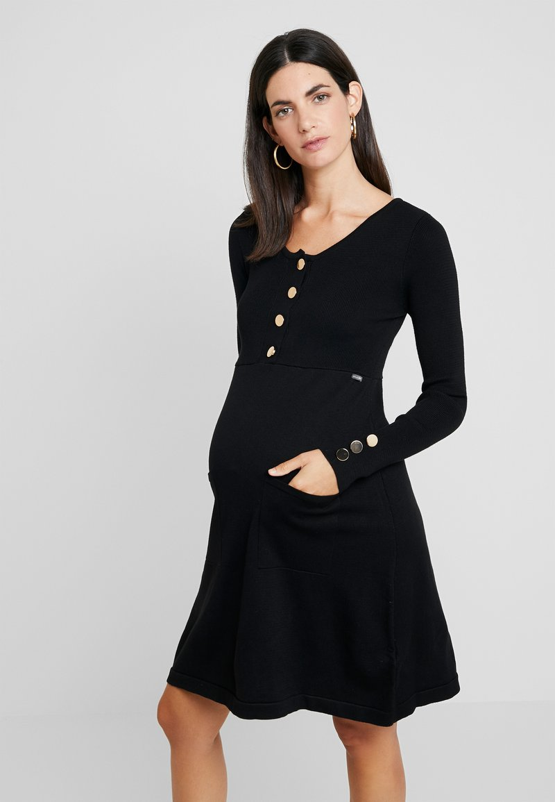 ohma! - NURSING FLAT DRESS WITH BUTTONS - Robe pull - black