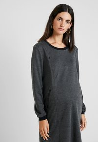 ohma! - NURSING CHECKS DRESS - Stickad klänning - black/navy - 4