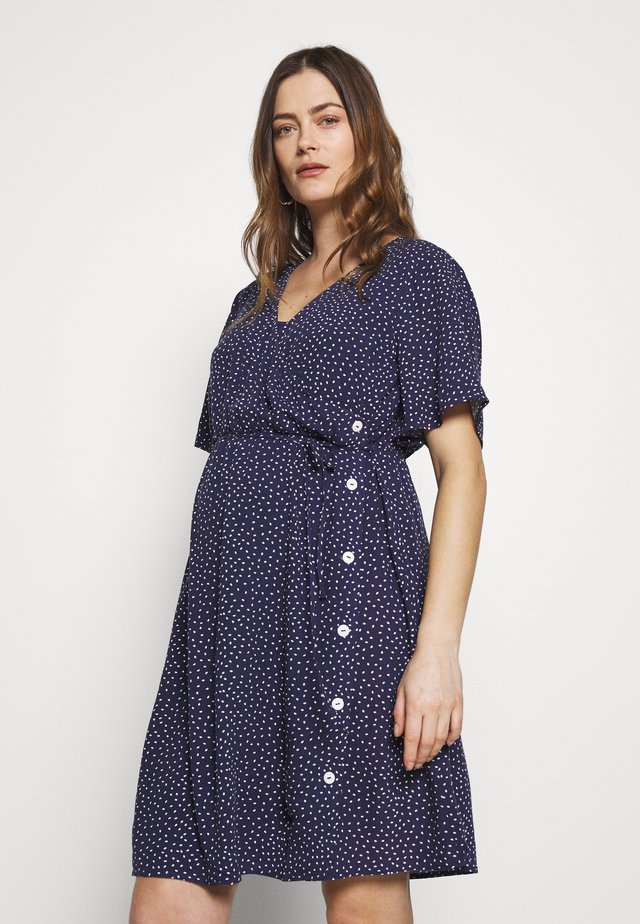 NURSING DOTTED DRESS CROSSED WITH BUTTON - Košilové šaty - navy