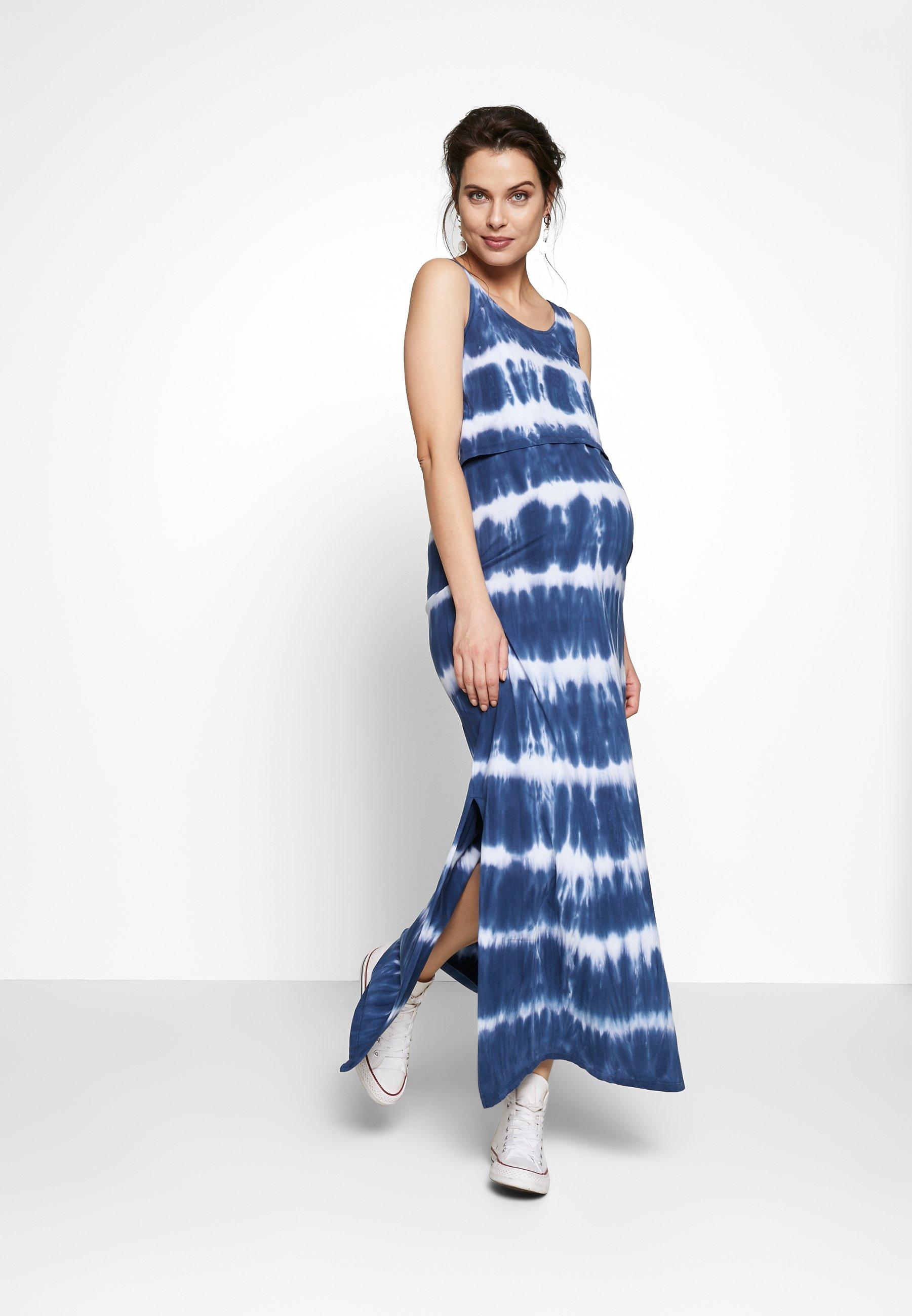 Ohma! Nursing Tie Dye - Maxiklänning Blue/white