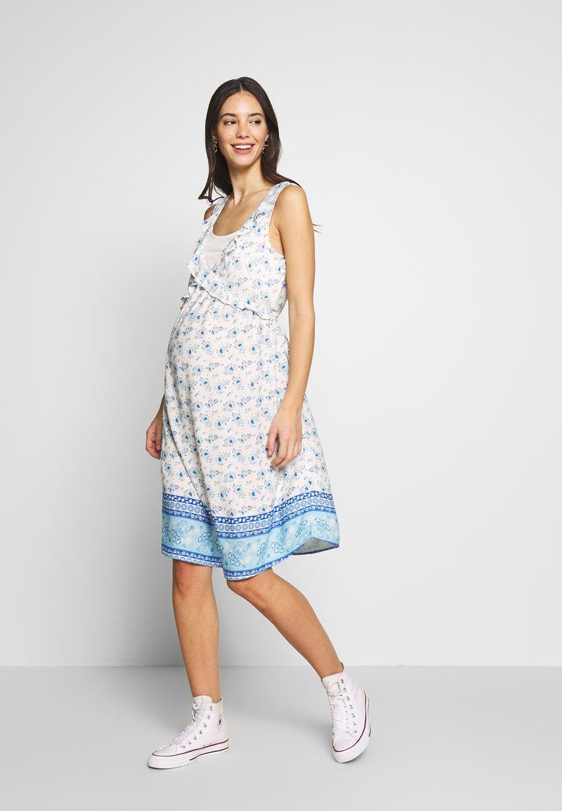 ohma! - NURSING PRINTED DRESS WITH FLOUNCE - Denní šaty - blue/white