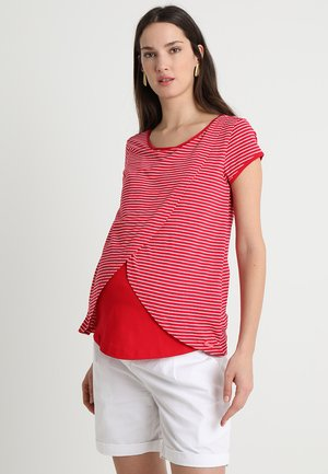 STRIPPED NURSING TEE CROSSED ON FRONT - T-shirts print - red/white