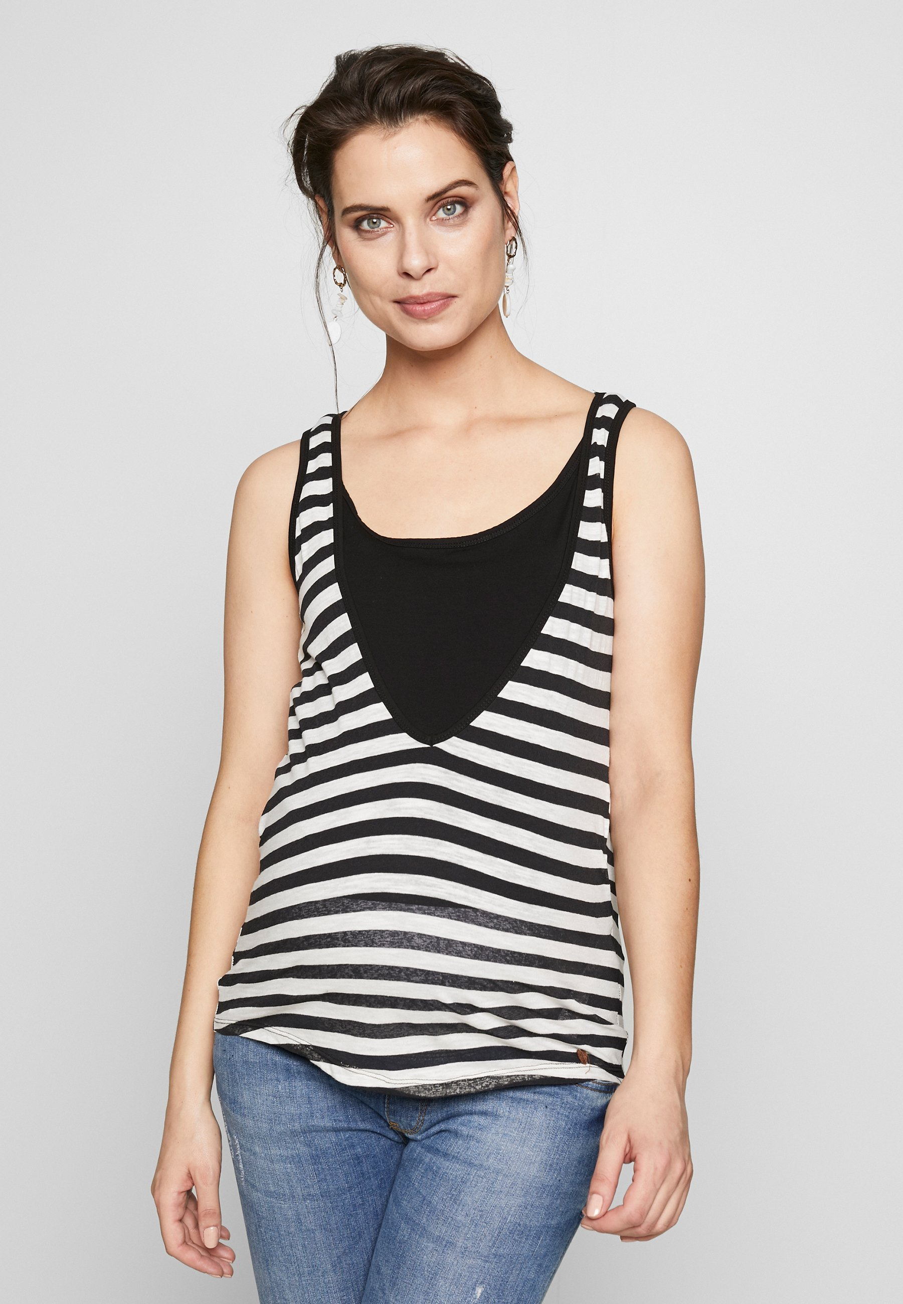 ohma! NURSING STRIPPED TANK - Topper - black/white