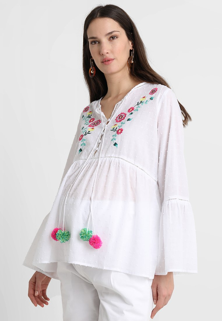 ohma! - EMBROIDERED PLUMETTI BLOUSE - Blusa - white