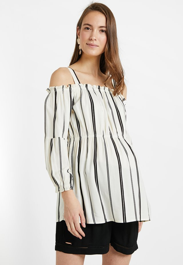 STRIPPED BLOUSE WITH DETACHABLE STRAPS - Bluser - white/black