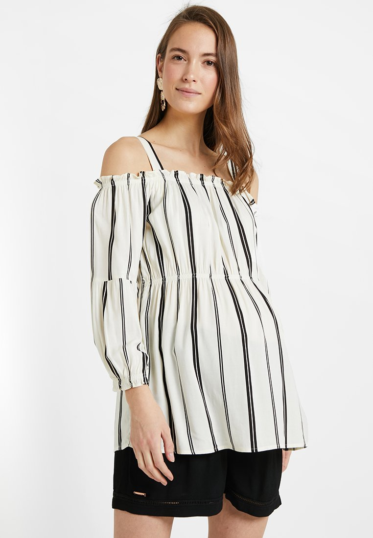 ohma! - STRIPPED BLOUSE WITH DETACHABLE STRAPS - Bluser - white/black