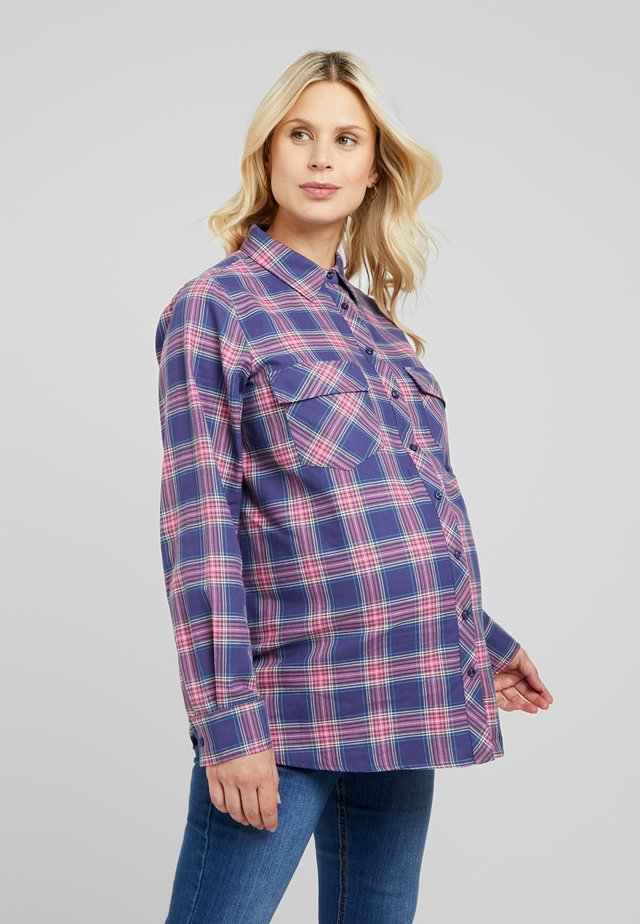 LONG WITH CHECKS - Button-down blouse - navy