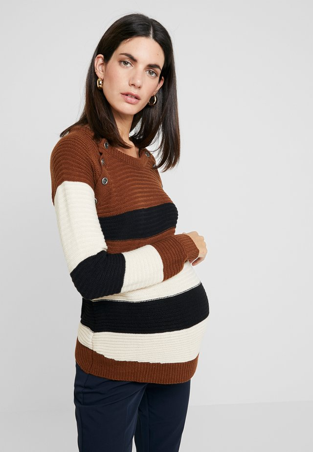 NURSING STRIPPED WITH BUTTONS - Maglione - brown