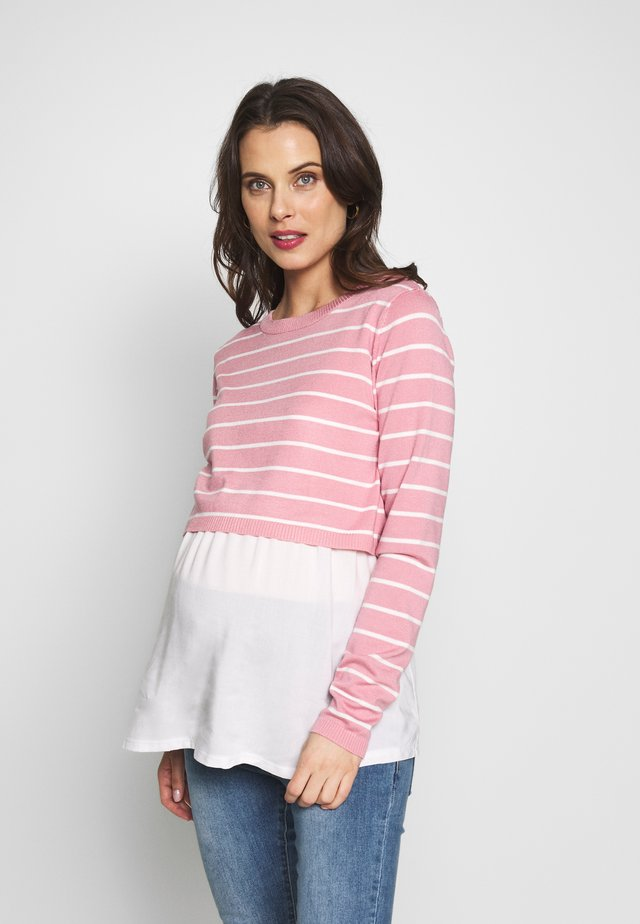 NURSING STRIPPED - Neule - pink/white