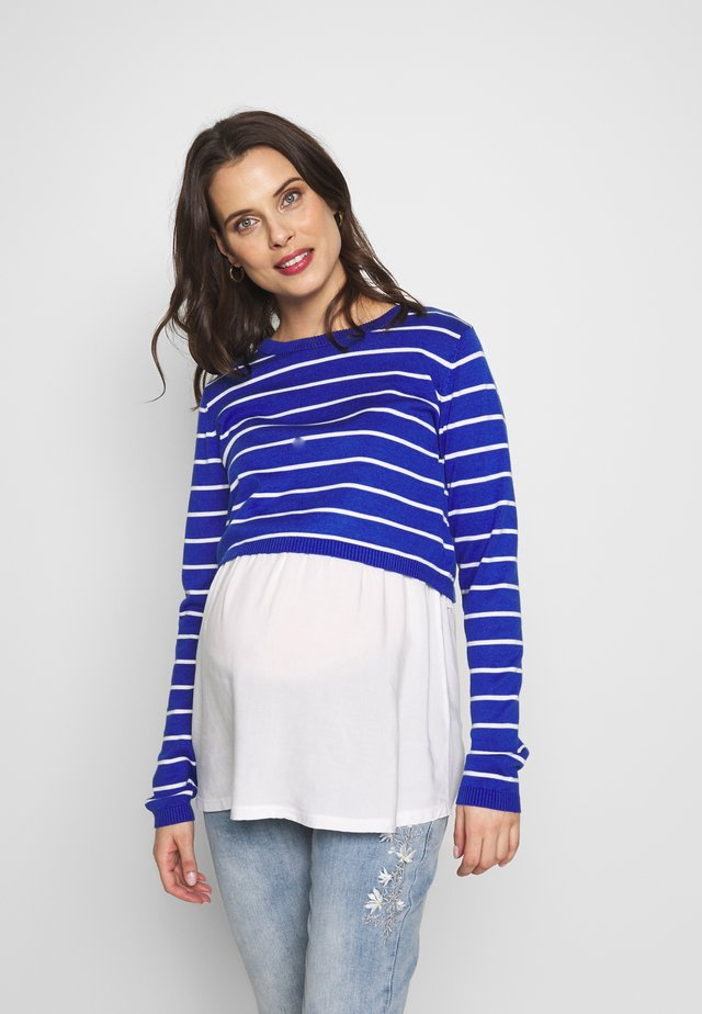 NURSING STRIPPED - Strickpullover - blue/white