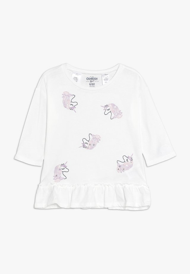 KIDS DROP SHOULDER PEPLUM TEE - Long sleeved top - white