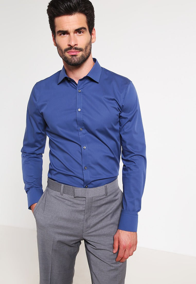 OLYMP No. Six - SUPER SLIM FIT  - Kauluspaita - rauchblau