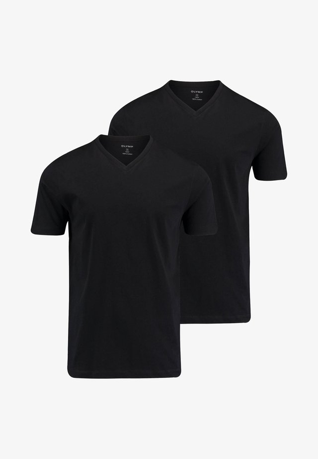 "OLYMP HERREN T-SHIRT ""CITY""- DOPPELPACK V-NECK - Basic T-shirt - schwarz"