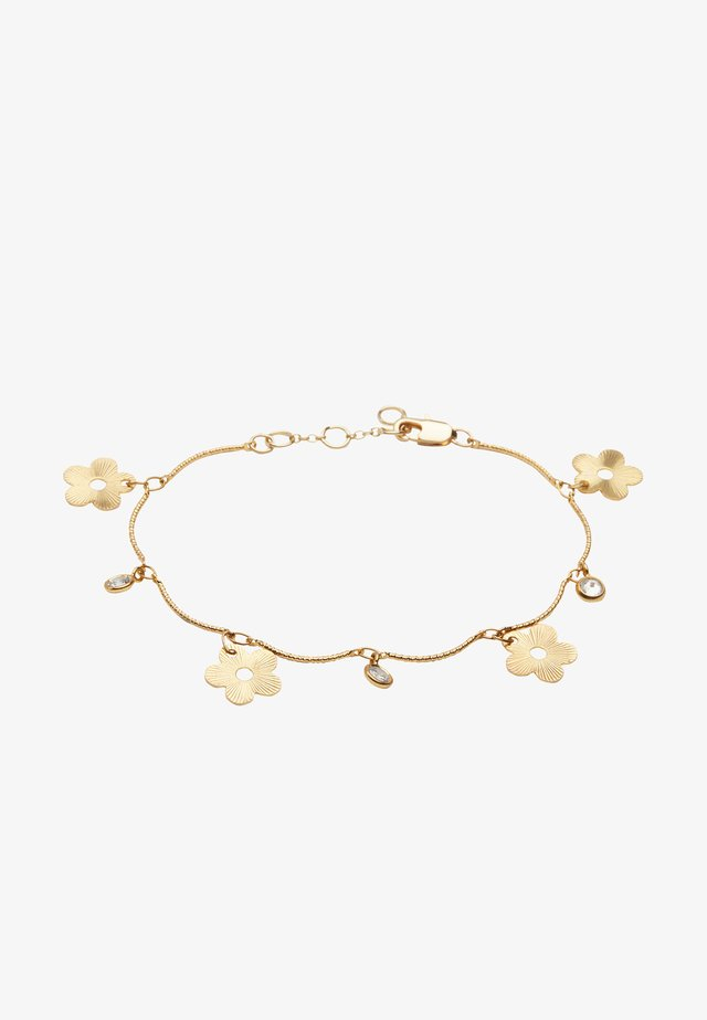 POSY FLOWER & GEM CHARM LINKED - Bransoletka - gold-coloured