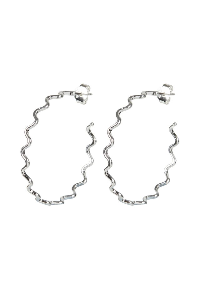 CONTI SQUIGGLE LINE GOLD PLATED HOOP LARGE - Earrings - silver
