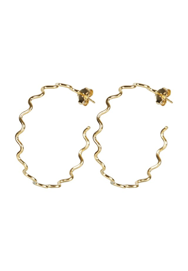CONTI SQUIGGLE LINE GOLD PLATED HOOP LARGE - Earrings - gold