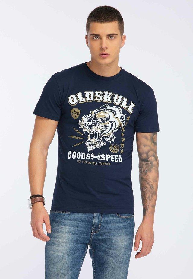 OLDSKULL T-SHIRT PRINT - Print T-shirt - navy blue