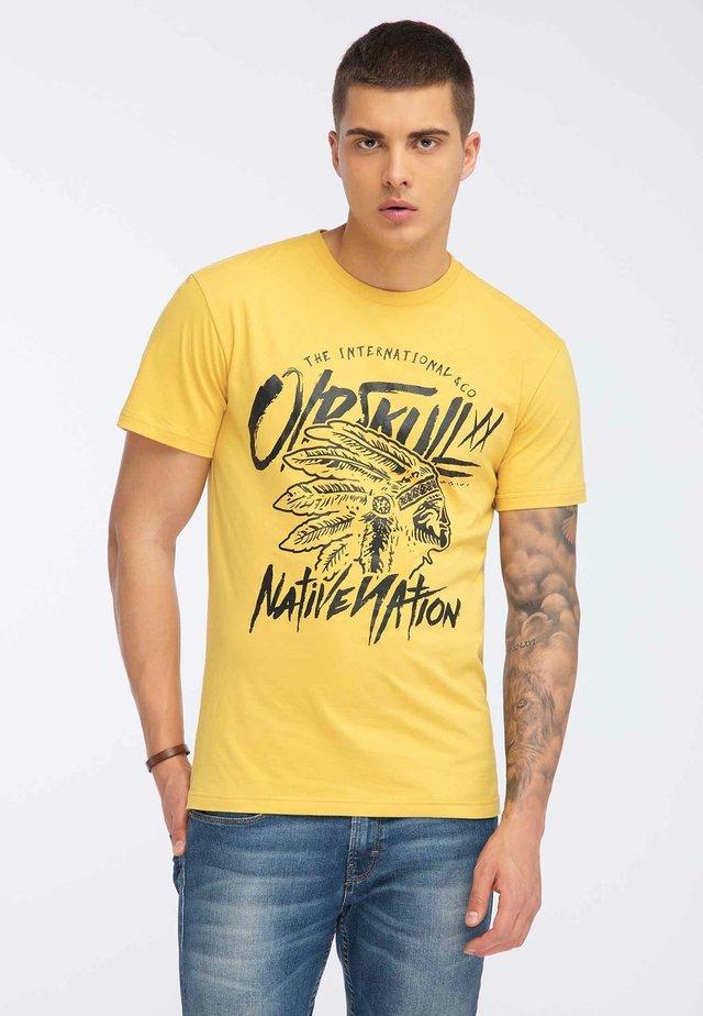 OLDSKULL T-SHIRT PRINT - Print T-shirt - yellow
