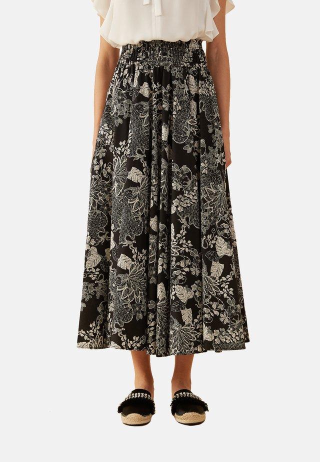 MIT BLUMENMUSTER AUS BAUMWOLLE - A-line skirt - black