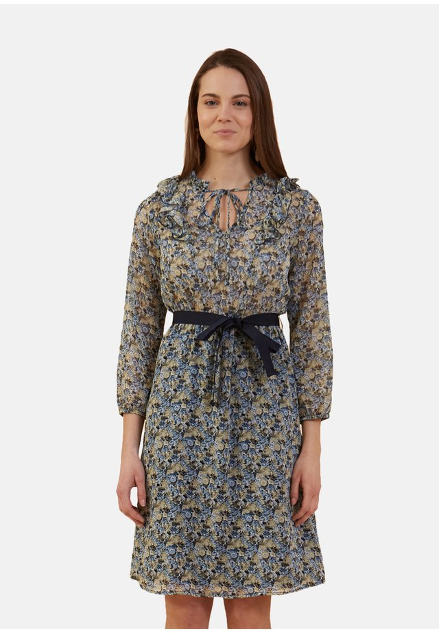 VESTIDO CORTO CON ROUCHES ESTAMPADO DE FLORES - Day dress - blu