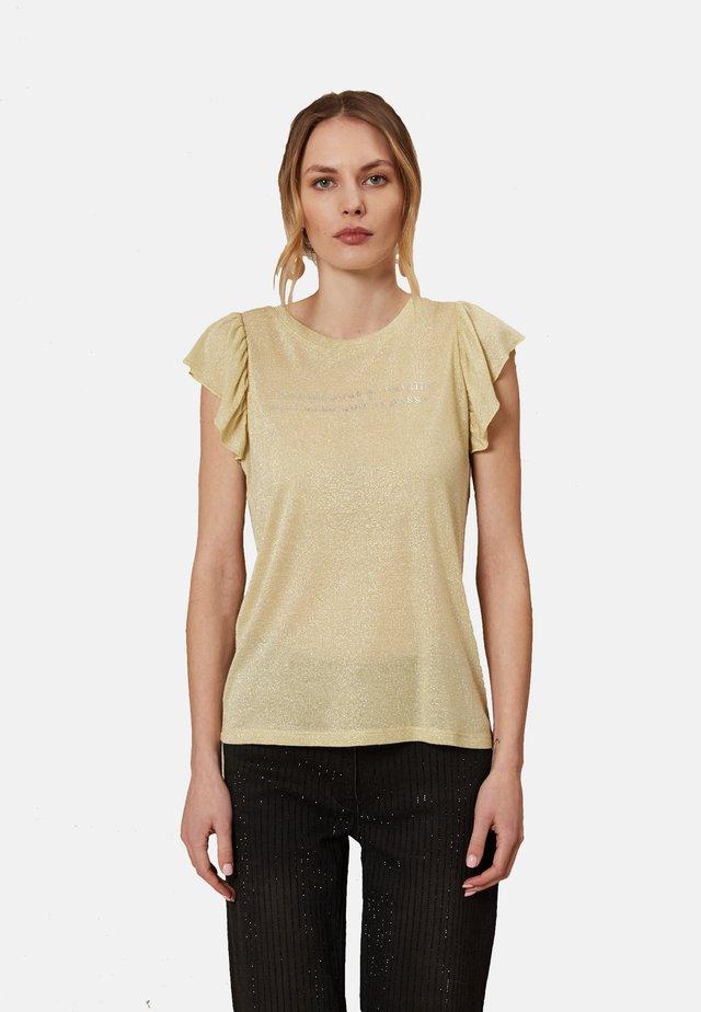 MIT SCHRIFTZUG - Print T-shirt - giallo