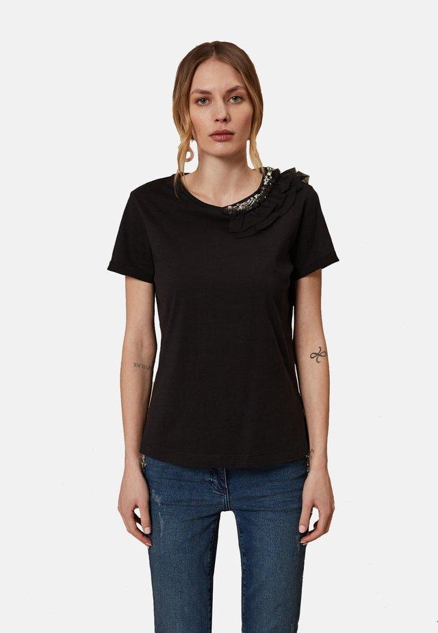 T-SHIRT MIT AUFGESTICKTEN SCHMUCKSTEINEN - Basic T-shirt - nero