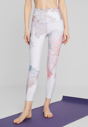 HIGH RISE GRAPHIC MIDI - Tights - white/rose