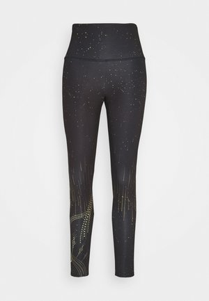 HIGH RISE GRAPHIC MIDI - Tights - black/gold