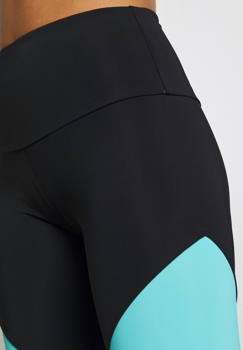 Onzie HIGH RISE TRACK LEGGING - Tights - black/cabo blue/white