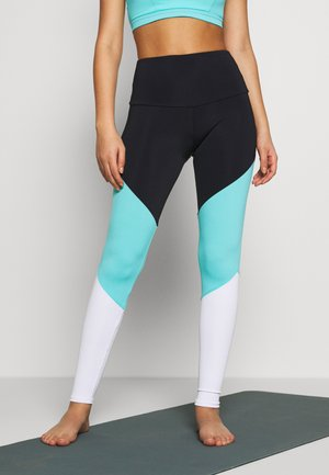 HIGH RISE TRACK LEGGING - Tights - black/cabo blue/white