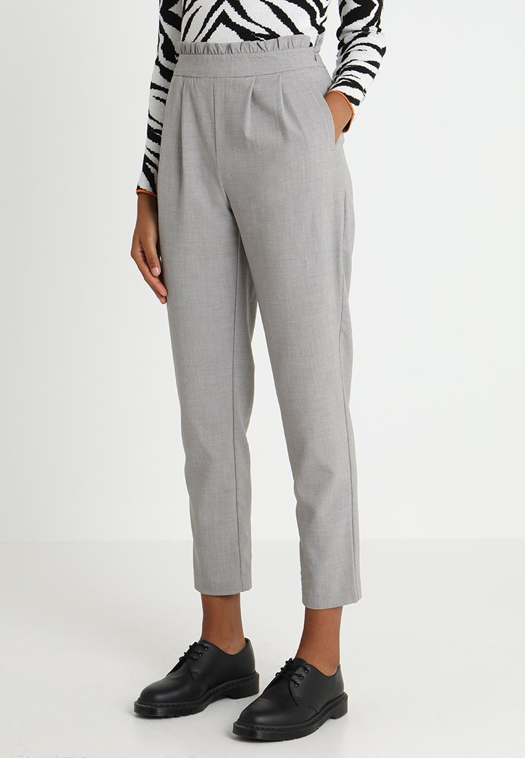 ONLY - ONLLEMON PAPERWAIST PANTS  - Kalhoty - light grey melange